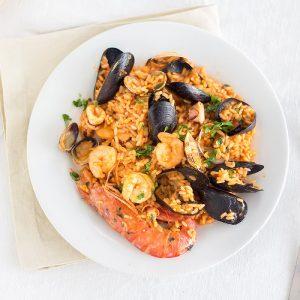 Paella med skaldjur