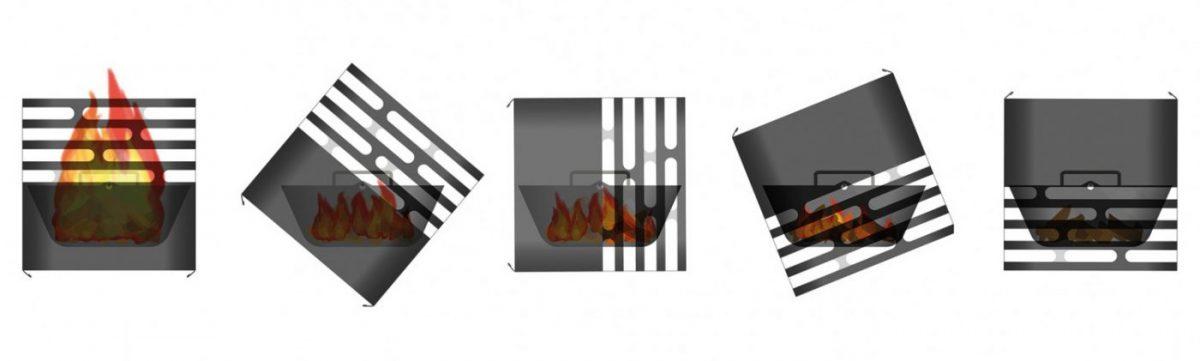Ritning som visar 5 steg för att släcka Höfats Cube Eldkorg & Kolgrill svart