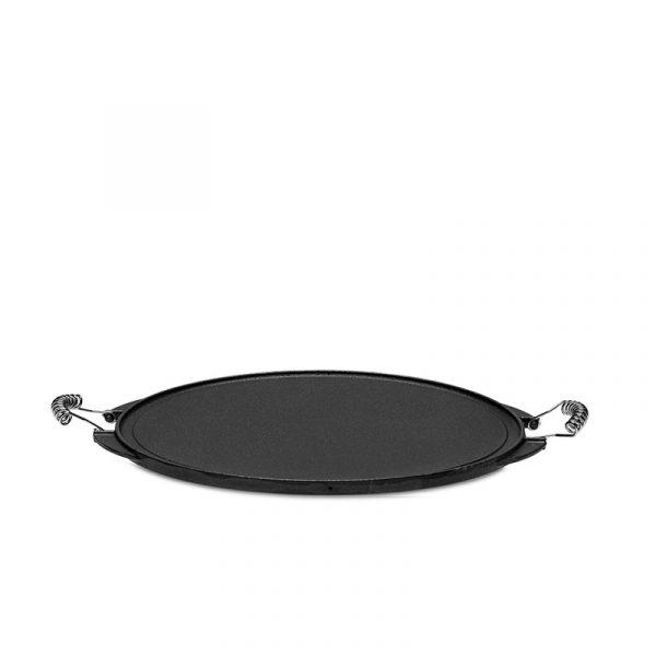 Rund svart Vaello grillpanna gjutjärn 43 cm mot vit bakgrund